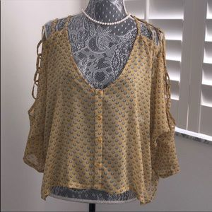MILLAU YELLOW & BLUE BLOUSE WITH OPENINGS IN ARMS!